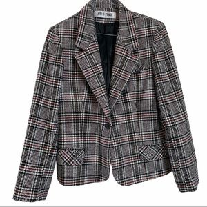 Vintage Plaid Blazer Jacket Small Black White Red